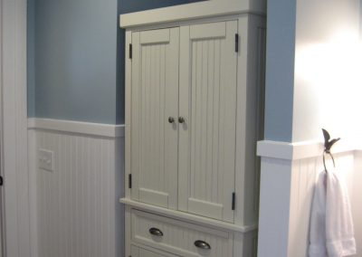 Custom bathroom cabinets tucked under stairway