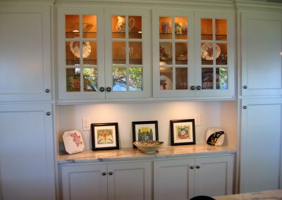 Dining room hutch with display cabinet and countertop
